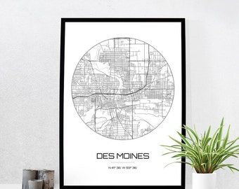 Des Moines Map Print - City Map Art of Des Moines Iowa Poster - Coordinates Wall Art Gift - Travel Map - Office Home Decor