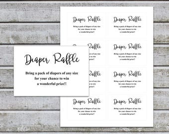 Diaper Raffle Ticket Cards Printable Baby Shower Games Diaper Raffle Insert for Neutral Baby Shower invitations Instant Download (v32dr)