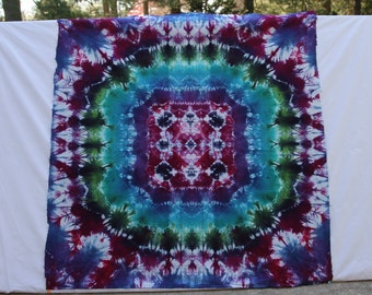 """Tie Dye *MANDALA* -- Tie Dye *TAPESTRY* -- *Festival BANNER* -- *Jewel Tones* --38"""" x 44"""" -- 100% cotton"""