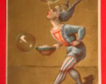 Victorian Trade Card 1800s, Victorian Jester Blowing Big Bubbles, Henry Grieb and Co, Philadelphia Caramels, Wonderful Victorian Collectible