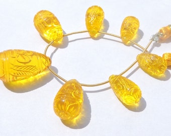 7 Pcs Set Beautiful Yellow Quartz Mughal Carved Drops Briolette Size 15*8 - 26*15 MM
