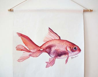 Original oil painting Pink red Gold fish isolated illustration hanging wall deco
