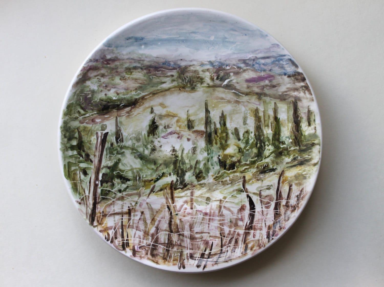 🔎zoom & Hand Painted Ceramic Plate art ceramic dish ItalyTuscany