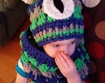 PDF crochet pattern Little monster hat and collar