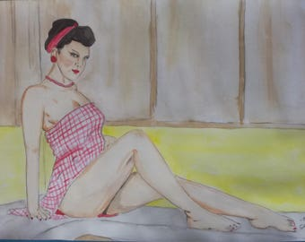 "Pin up erotic watercolor painting, female nude, fine art A4 21 x 29.7 ""dinner"""