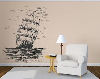 Wall Vinyl Sticker Decals Mural Room Design Pattern Art Ship Boat Sails Waves Nursery bo2025