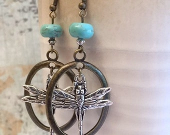 On Sale Dragonfly Earrings, turquoise Blue, Vintage Look, Statement Earrings, FREE SHIPPING