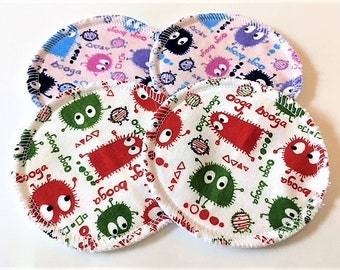 2 Pairs of Cloth Nursing Pads - Ooga Booga Monsters Variety