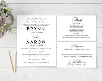 Printable Wedding Invitation Template | Clean Invitation| Calligrapher Script|Formal Script | Word | Pages | Mac | Editable | Word Template