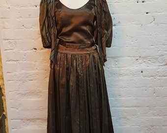 1960s radley dress, bronze with green and lilac running through, tonic look. UK size 10