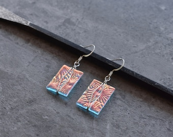 Coral Glow Dichroic Glass Earrings with Wire Wrap