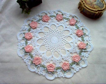 Carnation Roses N Lace Thread Crochet Art Vintage Style Doily New Handmade