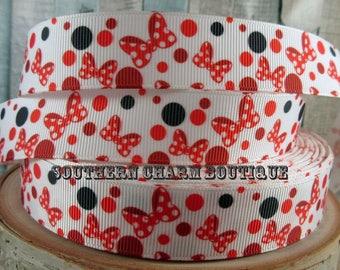 "3 yards of 7/8"" Mouse bow character polka dot grosgrain ribbon"