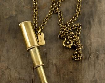 I Spy Necklace, Brass Telescope Necklace, Brass Pendant, Men's Telescope Necklace, Men's Necklace, Working Telescope Pendant, Telescope