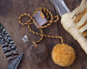 Mustard & Brown Pom Pom Swag, Tie Back.  Multi Purpose Pom Pom Rope, Tassel, Decoration, Bohemian Fashion, Decorating Supplies, Design