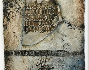 Painting FRAGMENT 3, small original mixed media on handmade paper, blue, brown; textured medieval script, handmade artifact, eclipse