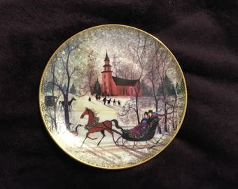 P Buckley Moss Christmas Night Collector Plate Limited Ed Numbered COA in box