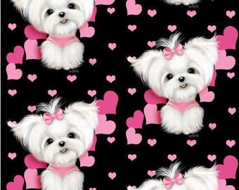 Medium Project Bag Pink Maltese Hearts Custom Print Fabric