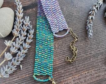Bright Beaded Bracelet - purple and green
