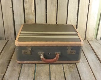 Vintage Striped Suitcase, Old Luggage, Small Suitcase, Vintage Luggage, Photo Shoot Prop, Travel Box, Small Vintage Suitcase,