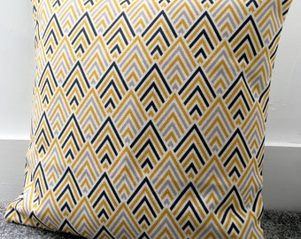 """Mustard yellow and grey geometric cushion cover 18 x 18"""" 45cm cotton linen double-sided"""