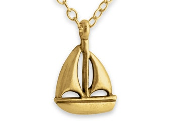 Sailboat Yacht Regatta Water Sport Ship Crew Sea Sailing Charm Pendant Necklace #14K Gold Plated over 925 Sterling Silver #Azaggi N0040G