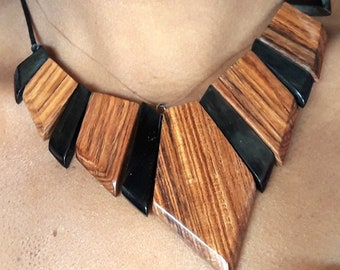 necklace made of wood and Horn