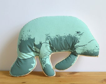 Silkscreen Manatee Pillow