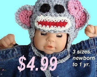 CROCHET PATTERN hat, num 298, Sock Monkey Hat , 3 sizes included from newborn to 12 months, instant digital download