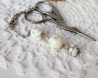 "Scissor Fob / Scissor Keeper / Scissor Minder ""White marble"" / Sewing accessories / Handbag charm / Planner Accessory / Gift for needlewoman"