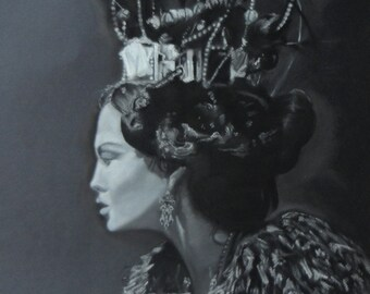 Black and white charcoal drawing of fashionable female with crown