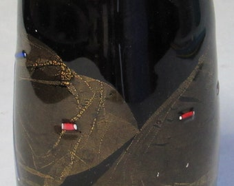1996 Black Studio art glass black and gold Vase with Jeweled Patterns Signed