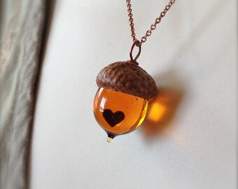 Glass Acorn Necklace in Topaz with Encased Copper Heart by Bullseyebeads