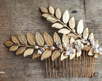 Gold bridal hair comb, bridal headpiece, bridal accessories, comb for bride, gold leaves, gold fern,gold vine, wedding hairpiece, boho bride