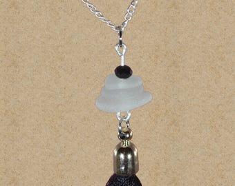 Black tassel necklace with sea glass / genuine sea glass necklace / authentic sea glass jewelry