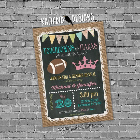 gender reveal surprise gender burlap lace invite rustic chic invitation diaper wipe brunch football touchdown or tiara 1472 katiedid designs