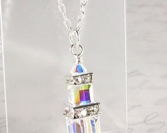 Swarovski Crystal Pendant, Crystal Cubes, Bridal Necklace, Crystal AB, Wedding, Sterling Silver, April Birthstone, Custom Colors