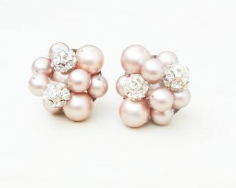 CHAMPAGNE Wedding Earrings, Pearl Bridal Earrings, Champagne Pearl Earring, Retro Art Deco Bridal Jewelry, Wedding Jewelry, AUDREY