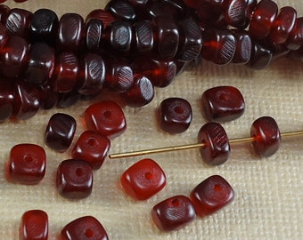40 Horn Beads Red Nuggets Natural Real Animal Dyed Beads Nature 5mm x 4mm for DIY Projects