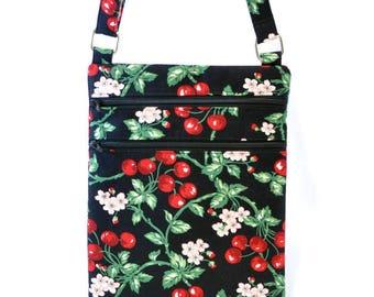 Cross body bag , Cherry blossom hipster bag, cherry handbag, Retro zipper bag, Cross body purse, shoulder bag, hands free bag, travel bag