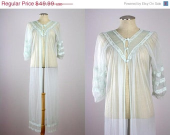 ON SALE Vtg 60s/70s Prim Chiffon Pegnoir Lace Seafoam Green Nightgown Full Length 38 S