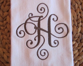 Bathroom 16x26 Velour Hand Towel - Elegant Scroll Monogram