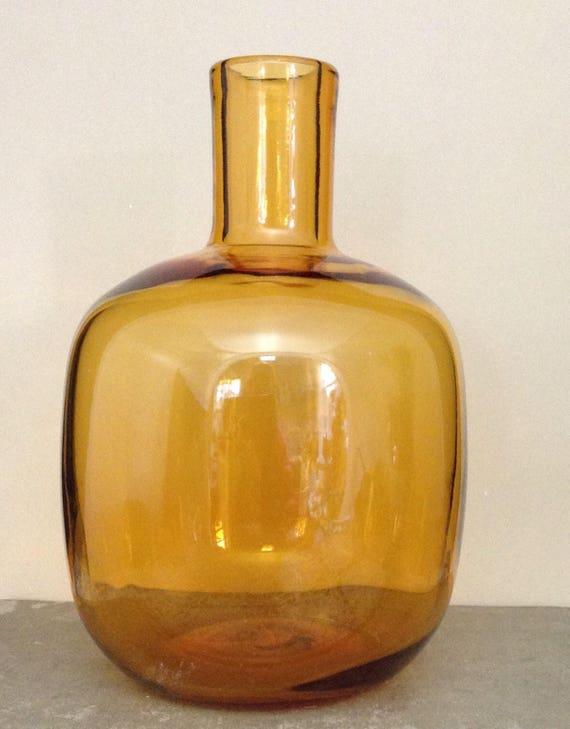 Midcentury Glass Vase Amber Glass Vase Handblown Vase Art