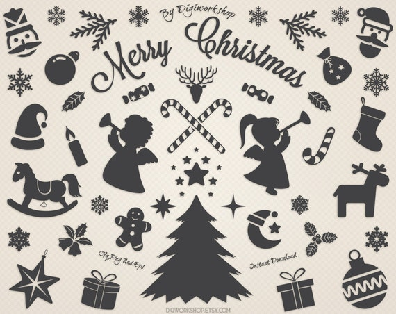 Digital Christmas Clip Art Clipart Silhouettes With Xmas Tree Snowflakes Deers Holiday Decorations
