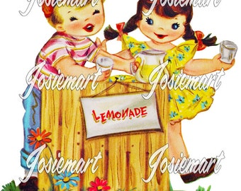 Vintage Digital Download Lemonade Stand Boy and Girl Vintage Image Collage Large JPG