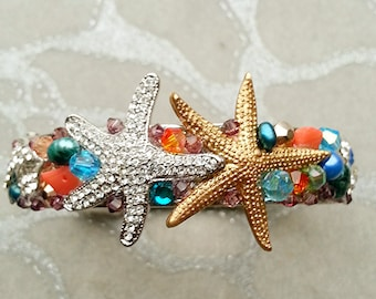 Girl's Bracelet - Mermaid Sea Princess - Once Upon A Time 's Ariel - Swarovski starfish crystal Dolphins pearls coral gold silver blue pink