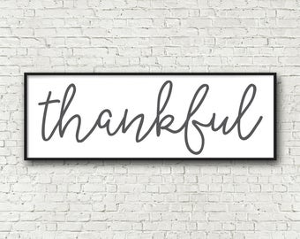 Thankful Sign Thankful wall art printable 12x36 dining room decor oversize art kitchen decor digital art print instant download panorama