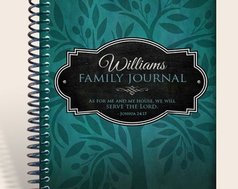 Family Prayer Journal Personalized / Family Memories / Joshua 24 15 / Color: Teal