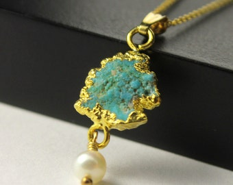 14K Gold Filled Necklace with Raw Turquoise and Pearl - 22K Gold Vermil Pendant - Rough Turquoise Gemstone - December Birthstone