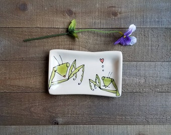 Mini insect tray, hand drawn praying mantis dish, small spoon rest,  home decor.